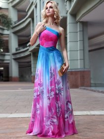 A-line One Shoulder Chiffon Lily Pattern Detailed Evening/Prom Dress