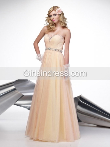 A-line Sweetheart Beading Tulle&Satin Prom Dress