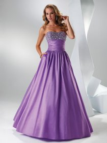 Ball Gown Beaded Satin Sweetheart Engagement Dress