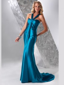 Gorgeous Halter Satin Sweeping Train Mermaid Prom Dress