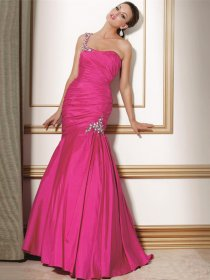 Gorgeous Trumpet Beading One-shoulder Satin Evening Dress