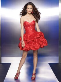 Lovely Sweetheart Beading Satin Cascading Ruffle Cocktail Dress
