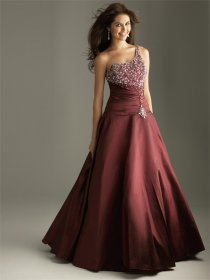 One-shoulder Floor-length Satin Prom Dress