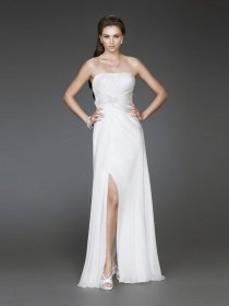 Sexy A-line Flowers Strapless Satin Prom Dress