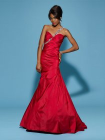 Sheath One-shoulder Beading Taffeta Prom Dress