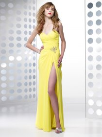 Sheath Sweetheart Beading Chiffon&Satin Evening Dress