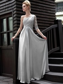 Silk-like Satin A-line One Shoulder Appliques Evening Dress