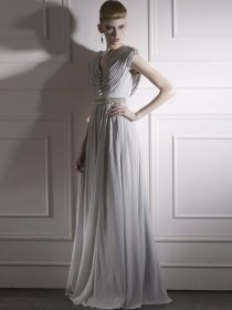 A-line Cape Sleeve Tassels V-neck Satin Prom Dress