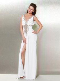 Elegant Sheath V-neck Beading Chiffon Evening Dress