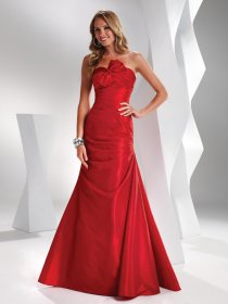 A-line Strapless Asymmetrical Bow Satin Prom Dress