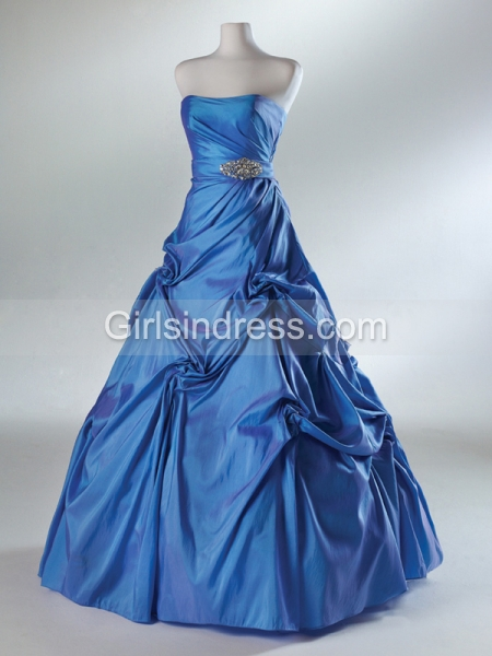 A-line Strapless Ruched Floor-length Satin Prom Dress