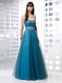 A-line Sweetheart Beading Organza & Satin Evening Dress