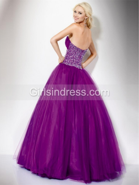 Attractive Sweetheart Beading Organza&Satin Engagement Dress
