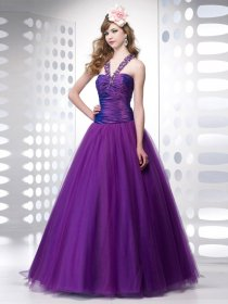 Ball Gown Straps Beading Organza&Satin Engagement Dress