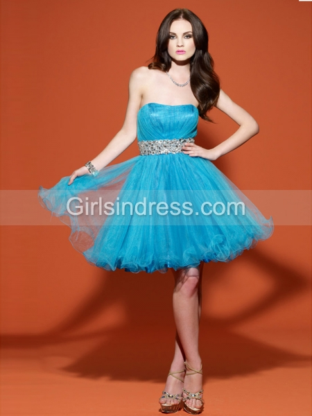 Ball Gown Sweetheart Appliques Organza&Satin Graduation Dress
