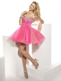 Ball Gown Sweetheart Beading Organza&Satin Cute Graduation Dress