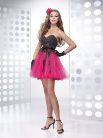 Ball Gown Sweetheart Beading Organza&Satin Graduation Dress