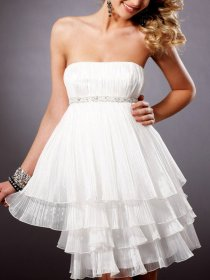 Brief Multi-layer Strapless A-line Organza Graduation Dress