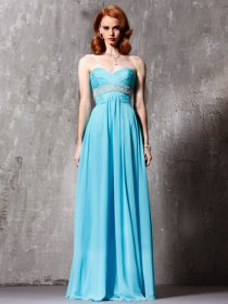 A-line Sweetheart Beading Floor-length Chiffon Elegant Prom Dress