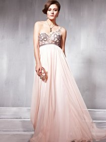Elegant Embroidery One Shoulder Beading Organza Prom Dress