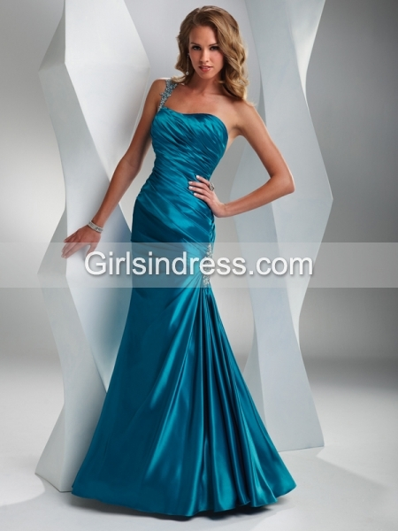 Mermaid One-shoulder Pleated Beaded Prom Dress