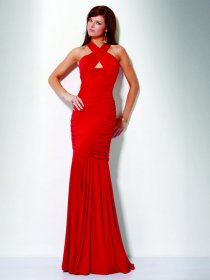 Mermaid/Trumpet Jewel Ruched Floor-length Chiffon Evening Dress