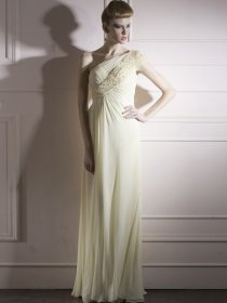 One-shoulder Floor-length Beading Chiffon Prom Dress