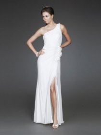 One-shoulder Floor-length Front Open Chiffon Evening Dress