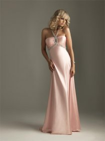 Sleeveless Satin Empire Halter Pearls Prom Dress