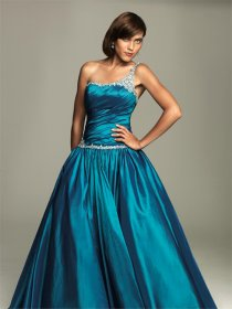 Satin Silver Sash Floor Length Prom Dress