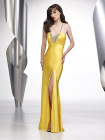 Sheath Spaghetti Straps Beading Satin Evening Dress