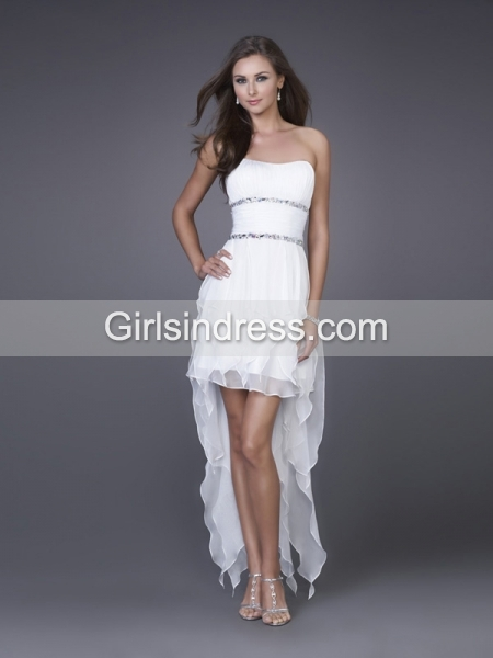 Sheath Strapless Beaded Satin Asymmetrical Homecoming Dress