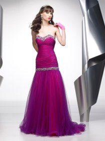 Sheath Sweetheart Beading Tulle & Satin Prom Dress