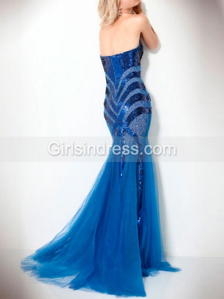 Sheath Sweetheart Sequins Strapless Organza Satin Evening Dress