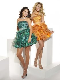 Strapless Cascading Ruffle Organza & Satin Cocktail Dress