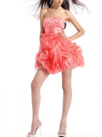 Taffeta A-line Strapless Embroidery Party Homecoming Dress