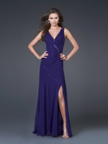 V-neck Straps Crystals A-line Satin Prom Dress