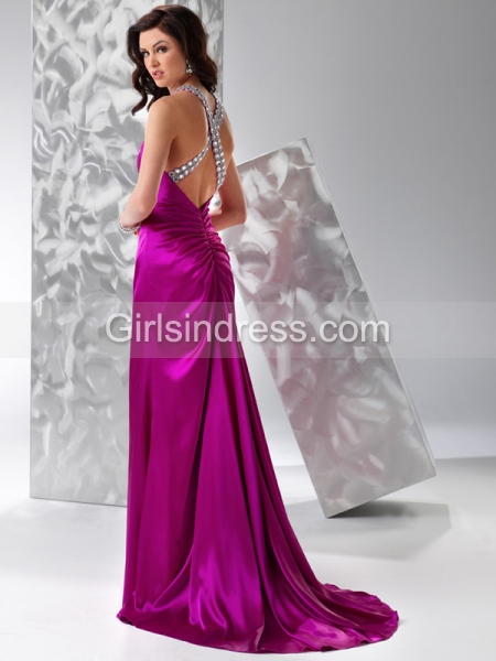 A-line Jewel Beaded Sleeveless Satin Prom Dress