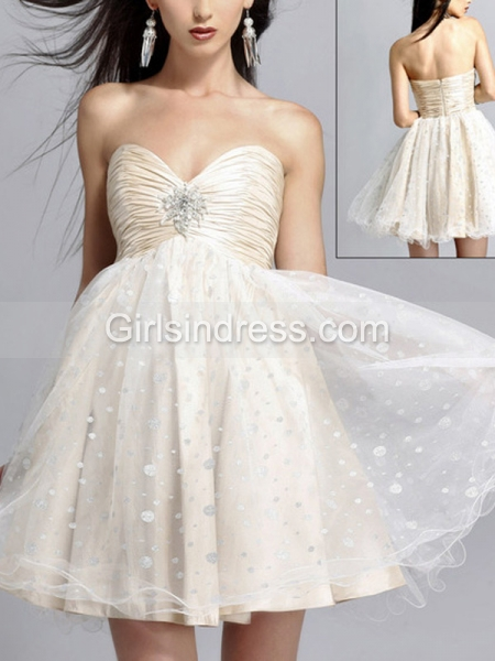 A-line Strapless Sweetheart Jewel Dotted Satin Graduation Dress