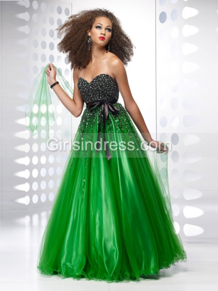A-line Sweetheart Beading Organza&Satin Engagement Dress