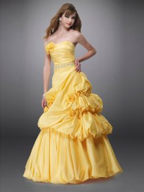 A-line Sweetheart Flowers Satin Engagement Dress
