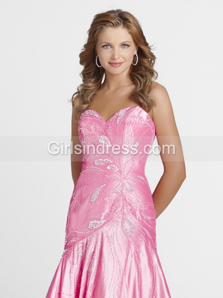 A-line Sweetheart Pink Appliques Satin Prom Dress