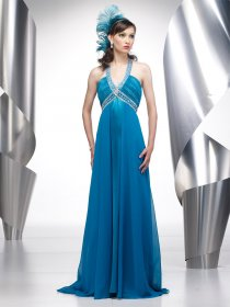 A-line V-neck Beading Chiffon&Satin Evening Dress