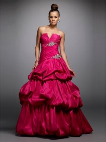 A-line V-neck Beading Satin Prom Dress