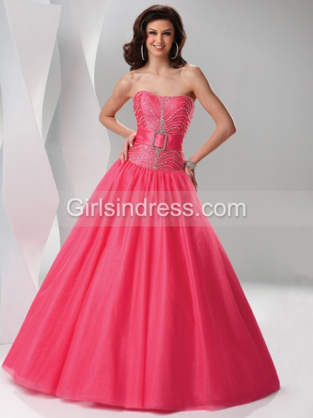 Ball Gown Strapless Beaded Tulle & Satin Engagement Dress