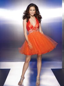Cute Beading Halter Organza&Satin Homecoming Dress