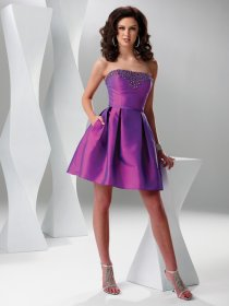 Cute Strapless Satin Beading Cocktail Dress