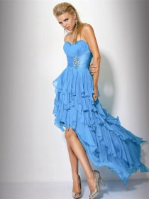 Elegant A-line Sweetheart Cascading Ruffle Chiffon Evening Dress