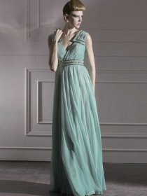 Elegant V-neck Beaded Chiffon A-line Prom Dress