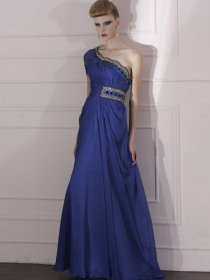 Eye-catching A-line Beading Organza One-shoulder Evening Dress